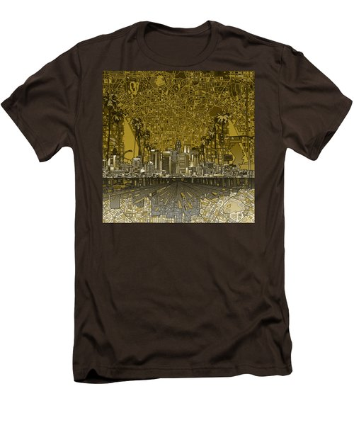 Los Angeles Skyline Abstract 4 Men's T-Shirt (Slim Fit) by Bekim Art