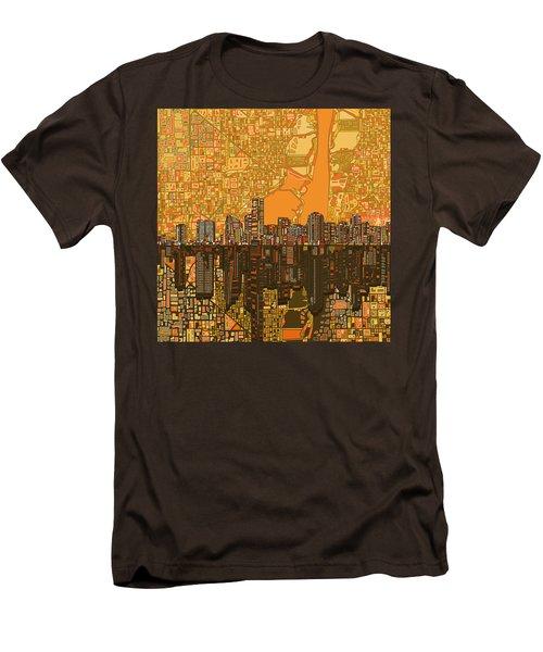 Miami Skyline Abstract 5 Men's T-Shirt (Slim Fit) by Bekim Art