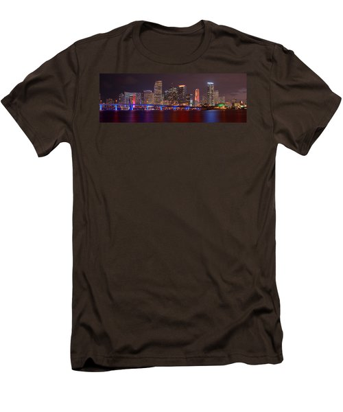Miami Skyline At Night Panorama Color Men's T-Shirt (Slim Fit) by Jon Holiday