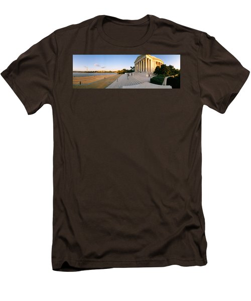 Monument At The Riverside, Jefferson Men's T-Shirt (Slim Fit) by Panoramic Images