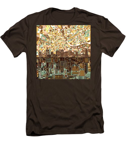 Nashville Skyline Abstract 4 Men's T-Shirt (Slim Fit) by Bekim Art