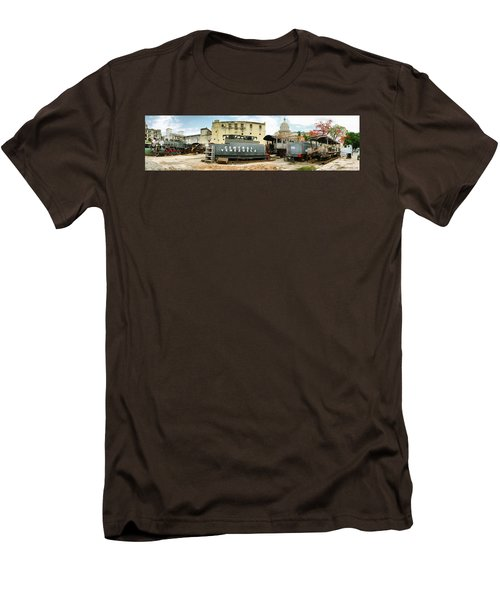 Old Trains Being Restored, Havana, Cuba Men's T-Shirt (Slim Fit) by Panoramic Images