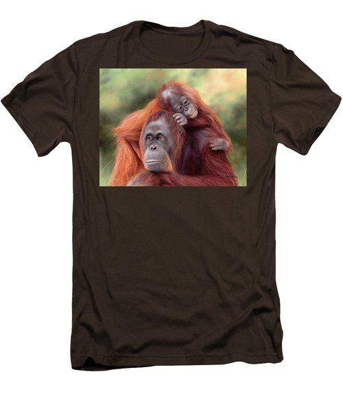 Orangutans Painting Men's T-Shirt (Slim Fit) by Rachel Stribbling