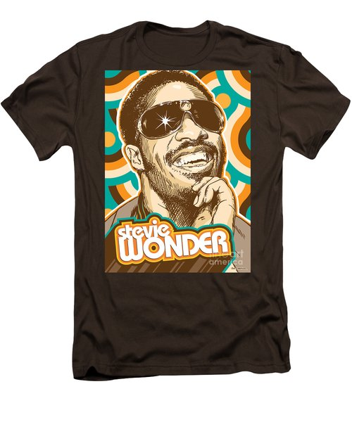 Stevie Wonder Pop Art Men's T-Shirt (Slim Fit) by Jim Zahniser