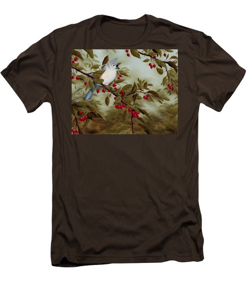 Tufted Titmouse Men's T-Shirt (Slim Fit) by Rick Bainbridge