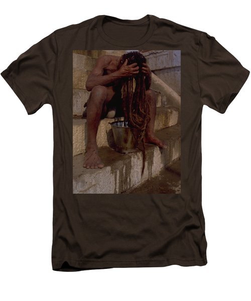 Men's T-Shirt (Slim Fit) featuring the photograph Varanasi Hair Wash by Travel Pics
