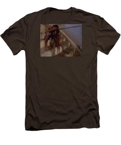 Men's T-Shirt (Slim Fit) featuring the photograph Varanasi Hair Wash by Travel Pics