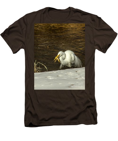 White Egret Snowy Bank Men's T-Shirt (Slim Fit) by Robert Frederick