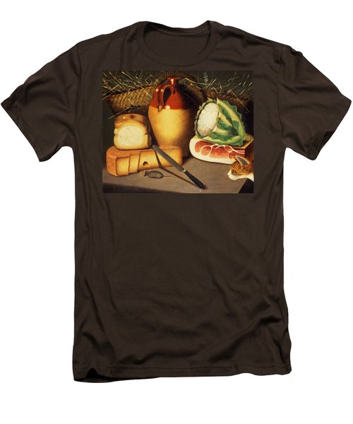 Cat Mouse Bacon And Cheese Men's T-Shirt (Slim Fit) by Anonymous