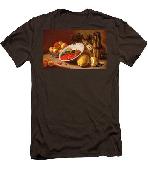 Still Life Of Raspberries Lemons And Asparagus  Men's T-Shirt (Slim Fit) by Italian School