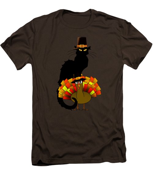 Thanksgiving Le Chat Noir With Turkey Pilgrim Men's T-Shirt (Slim Fit) by Gravityx9  Designs