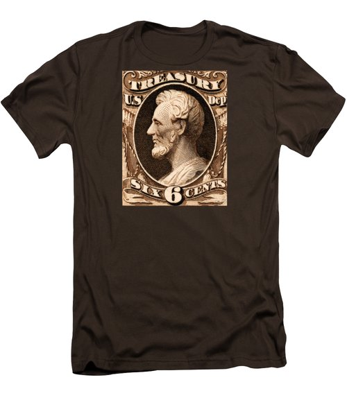 1875 Abraham Lincoln Treasury Department Stamp Men's T-Shirt (Slim Fit) by Historic Image