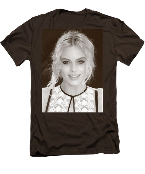 Actress Margot Robbie Men's T-Shirt (Slim Fit) by Best Actors