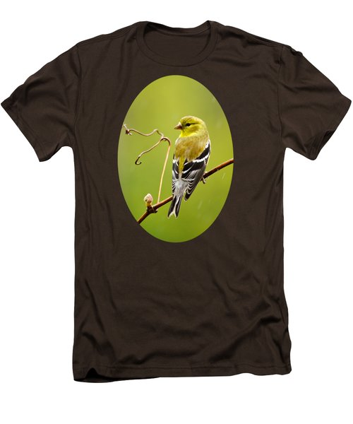 American Goldfinch In The Rain Men's T-Shirt (Slim Fit) by Christina Rollo