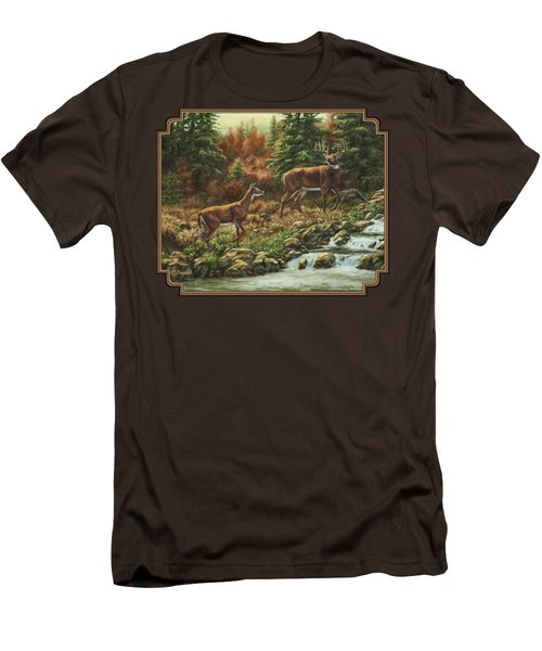 Whitetail Deer - Follow Me Men's T-Shirt (Slim Fit) by Crista Forest