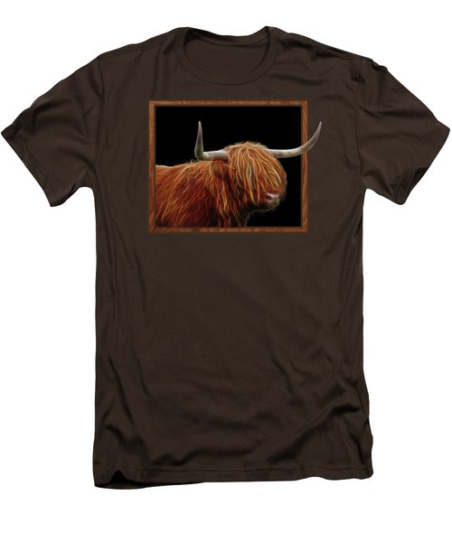Bad Hair Day - Highland Cow - On Black Men's T-Shirt (Slim Fit) by Gill Billington