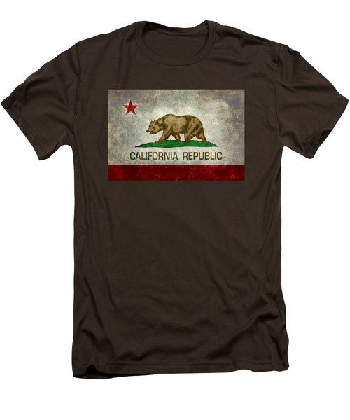 California Republic State Flag Retro Style Men's T-Shirt (Slim Fit) by Bruce Stanfield