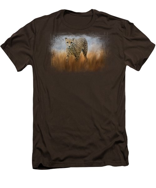 Cheetah In The Field Men's T-Shirt (Slim Fit) by Jai Johnson