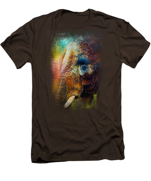 Colorful Expressions Elephant Men's T-Shirt (Slim Fit) by Jai Johnson