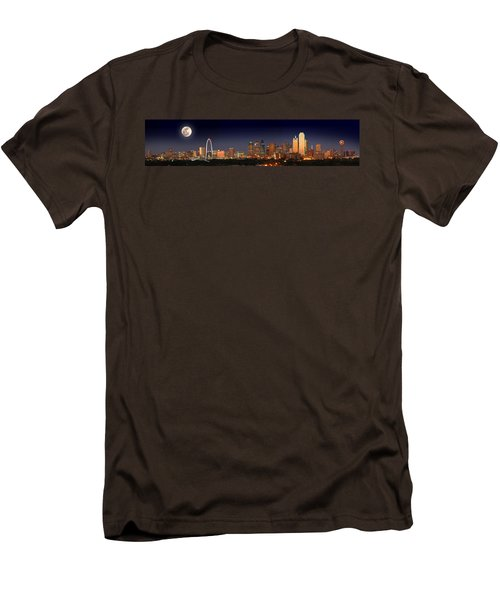 Dallas Skyline At Dusk Big Moon Night  Men's T-Shirt (Slim Fit) by Jon Holiday
