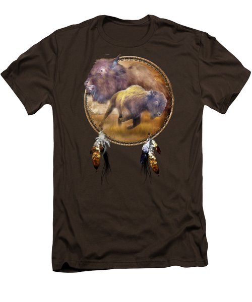 Dream Catcher - Spirit Of The Brown Buffalo Men's T-Shirt (Slim Fit) by Carol Cavalaris