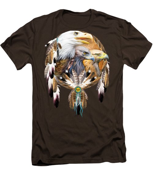 Dream Catcher - Three Eagles Men's T-Shirt (Slim Fit) by Carol Cavalaris