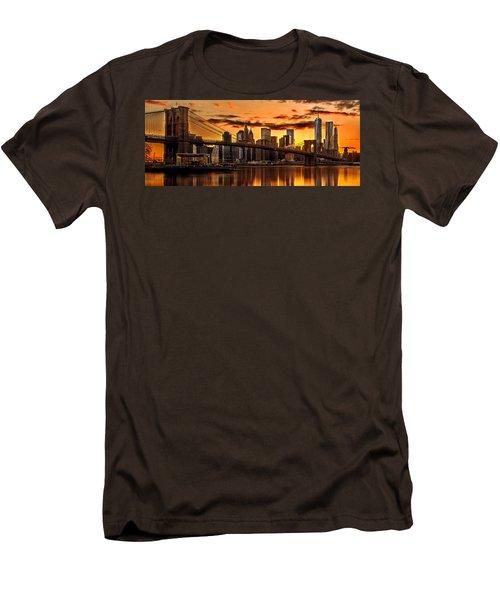 Fiery Sunset Over Manhattan  Men's T-Shirt (Slim Fit) by Az Jackson