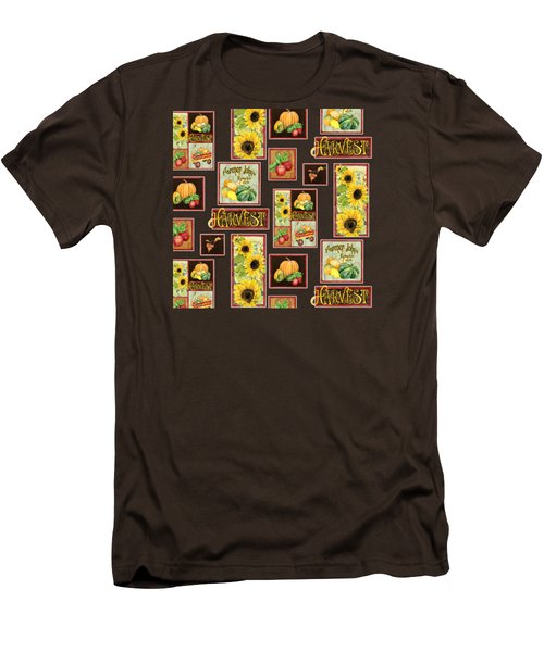 Harvest Market Pumpkins Sunflowers N Red Wagon Men's T-Shirt (Slim Fit) by Audrey Jeanne Roberts