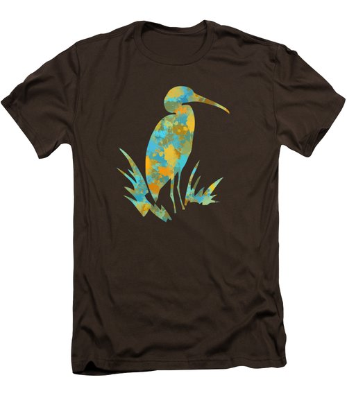 Heron Watercolor Art Men's T-Shirt (Slim Fit) by Christina Rollo