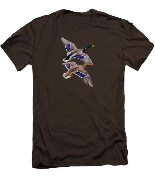 Mallards In Flight  Men's T-Shirt (Slim Fit) by Jan M Holden