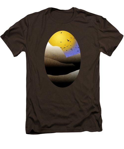 Mountain Sunset Landscape Art Men's T-Shirt (Slim Fit) by Christina Rollo