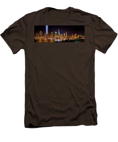 New York City Tribute In Lights And Lower Manhattan At Night Nyc Men's T-Shirt (Slim Fit) by Jon Holiday