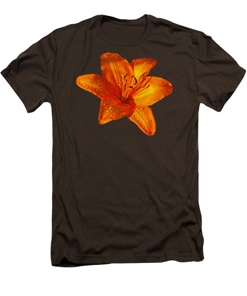 Orange Lily In Sunshine After The Rain Men's T-Shirt (Slim Fit) by Gill Billington
