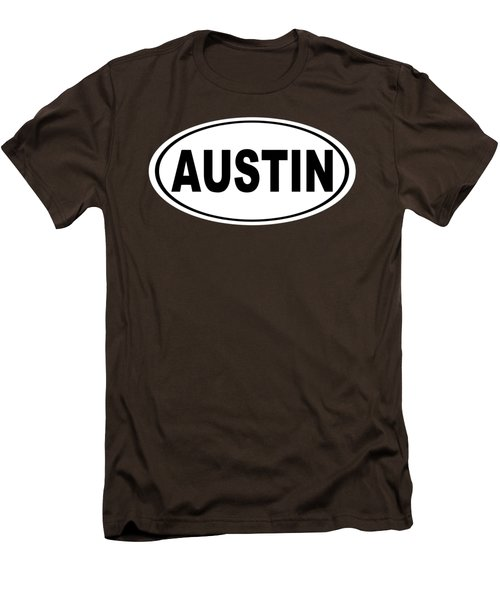 Oval Austin Texas Home Pride Men's T-Shirt (Slim Fit) by Keith Webber Jr