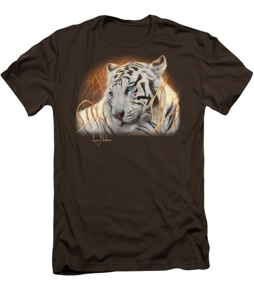 Portrait White Tiger 1 Men's T-Shirt (Slim Fit) by Lucie Bilodeau