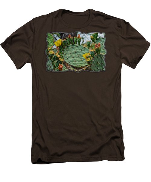 Prickly Pear Flowers Op46 Men's T-Shirt (Slim Fit) by Mark Myhaver