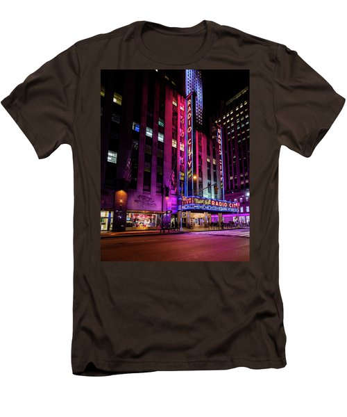 Men's T-Shirt (Slim Fit) featuring the photograph Radio City Music Hall by M G Whittingham