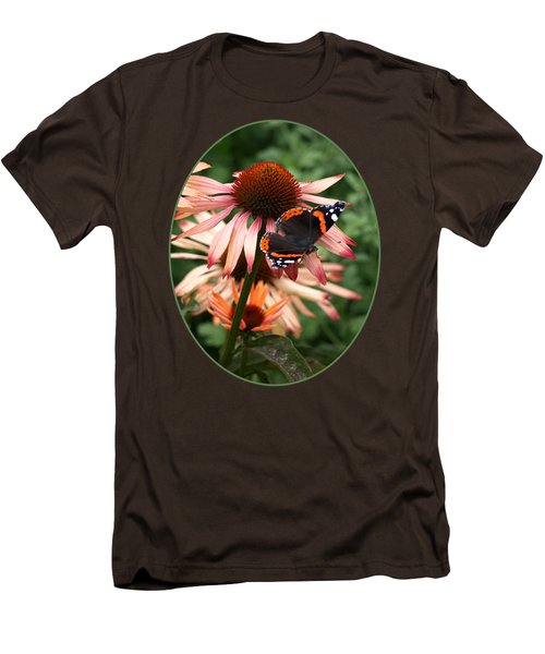 Red Admiral On Coneflower Men's T-Shirt (Slim Fit) by Gill Billington