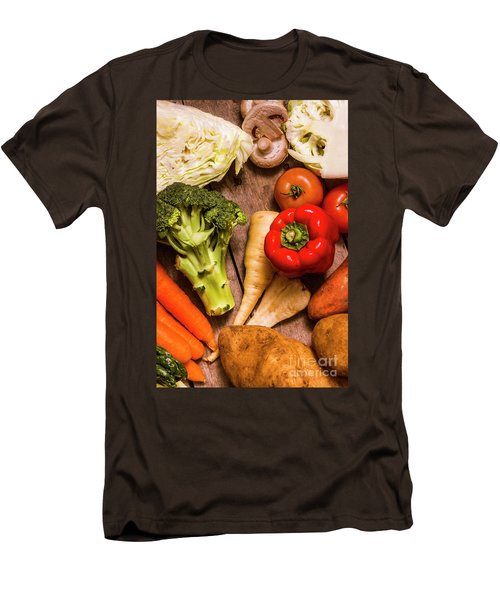 Selection Of Fresh Vegetables On A Rustic Table Men's T-Shirt (Slim Fit) by Jorgo Photography - Wall Art Gallery