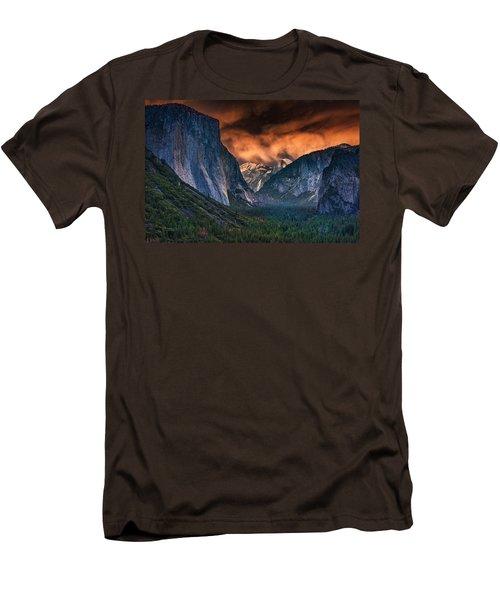 Sunset Skies Over Yosemite Valley Men's T-Shirt (Slim Fit) by Rick Berk