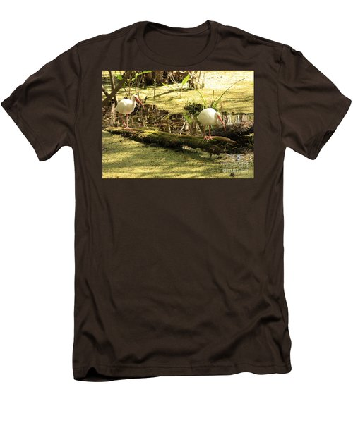 Two Ibises On A Log Men's T-Shirt (Slim Fit) by Carol Groenen