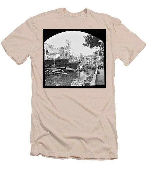Men's T-Shirt (Slim Fit) featuring the photograph Pegnitz River Nuremberg Germany 1903 by A Gurmankin
