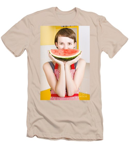 Funny Woman With Juicy Fruit Smile Men's T-Shirt (Slim Fit) by Jorgo Photography - Wall Art Gallery