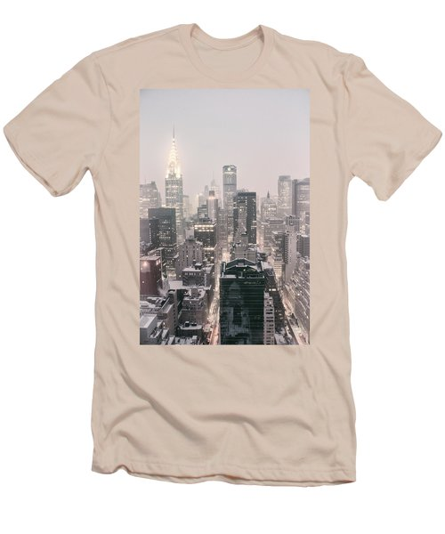 New York City - Snow Covered Skyline Men's T-Shirt (Slim Fit) by Vivienne Gucwa