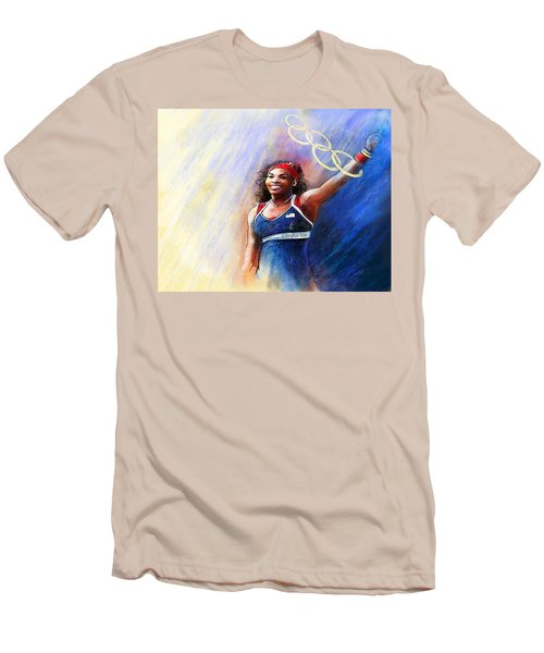 2012 Tennis Olympics Gold Medal Serena Williams Men's T-Shirt (Slim Fit) by Miki De Goodaboom