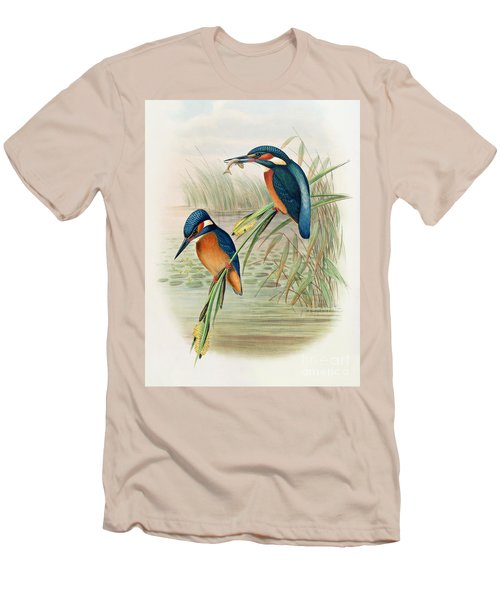 Alcedo Ispida Plate From The Birds Of Great Britain By John Gould Men's T-Shirt (Slim Fit) by John Gould William Hart