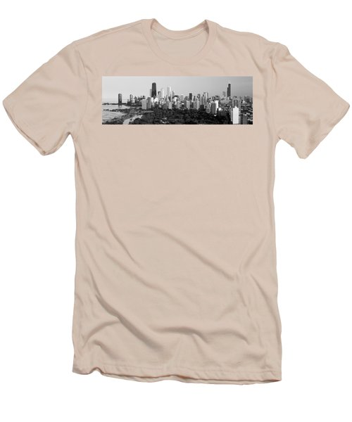 Buildings In A City, View Of Hancock Men's T-Shirt (Slim Fit) by Panoramic Images