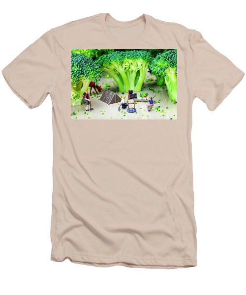 Camping Among Broccoli Jungles Miniature Art Men's T-Shirt (Slim Fit) by Paul Ge