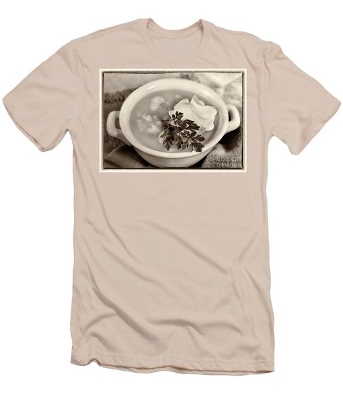 Cauliflower Soup Sepia Tone Men's T-Shirt (Slim Fit) by Iris Richardson