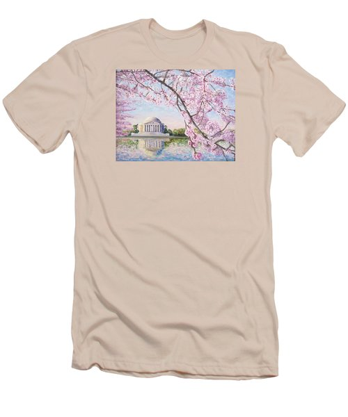 Jefferson Memorial Cherry Blossoms Men's T-Shirt (Slim Fit) by Patty Kay Hall